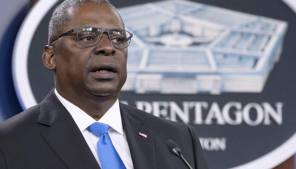 Defense Secretary Lloyd Austin speaks at a press briefing at the Pentagon in Washington on July 21, 2021. (AP/Wolf)
