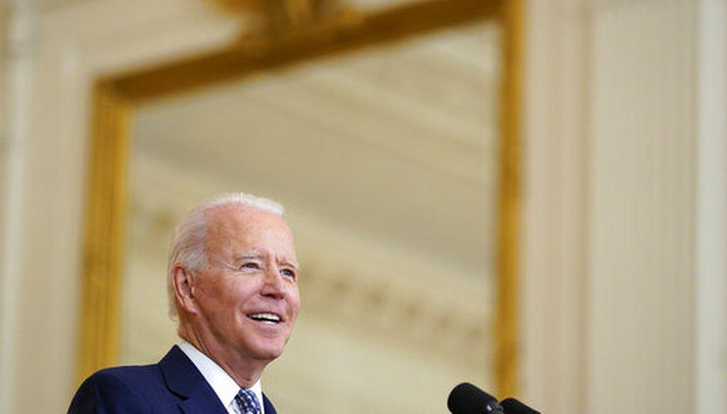 President Joe Biden speaks from the East Room of the White House on Aug. 10, 2021. (AP)