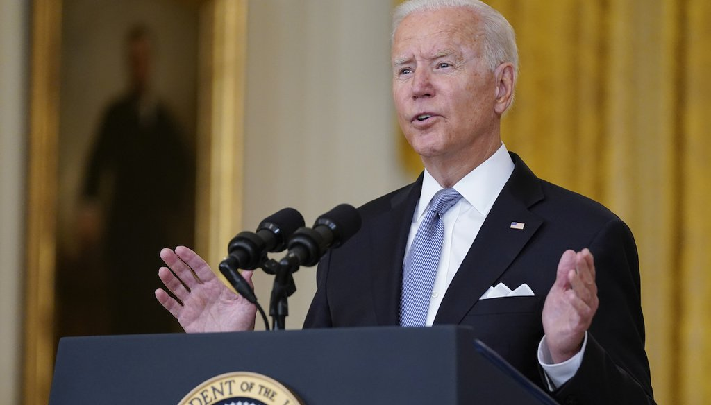 President Joe Biden speaks about Afghanistan from the White House on Aug. 16, 2021, in Washington. (AP/Vucci)