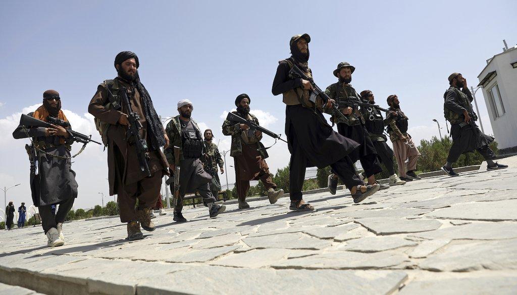 Taliban fighters patrol in Kabul, Afghanistan, on Aug. 19, 2021. (AP)