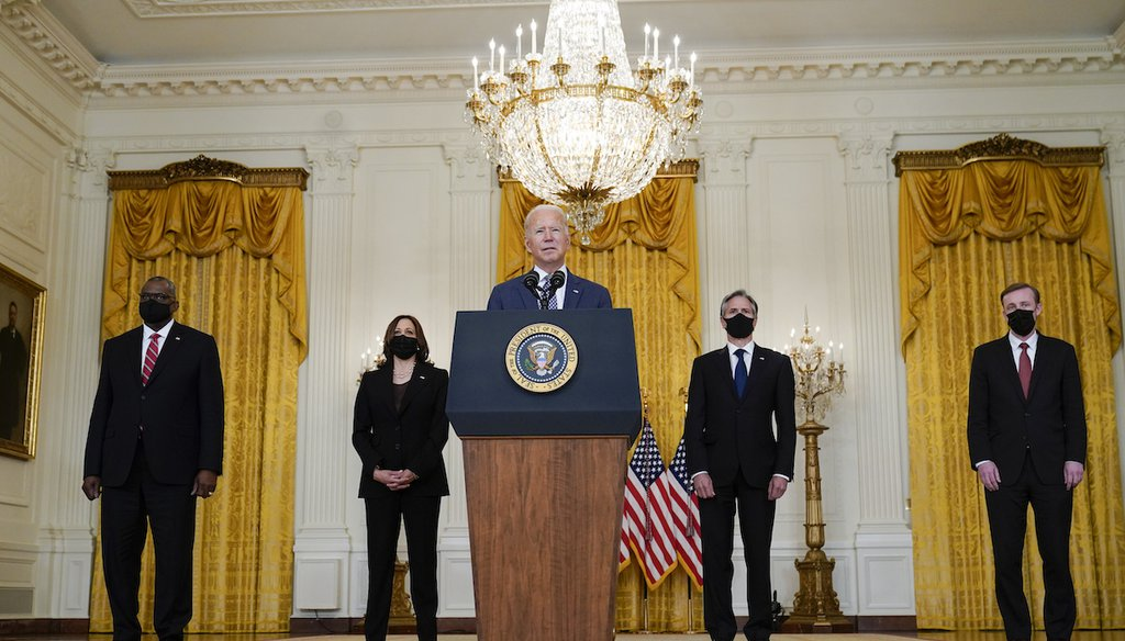 President Joe Biden speaks about the evacuation of American citizens, their families, SIV applicants and vulnerable Afghans in the East Room of the White House, Aug. 20, 2021. (AP)