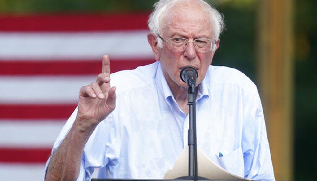 Sen. Bernie Sanders, I-Vt., speaks on Aug. 27, 2021, in West Lafayette, Ind. (AP)