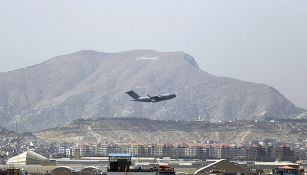 A U.S military aircraft takes off from Hamid Karzai International Airport in Kabul, Afghanistan, on Aug. 28, 2021. (AP)