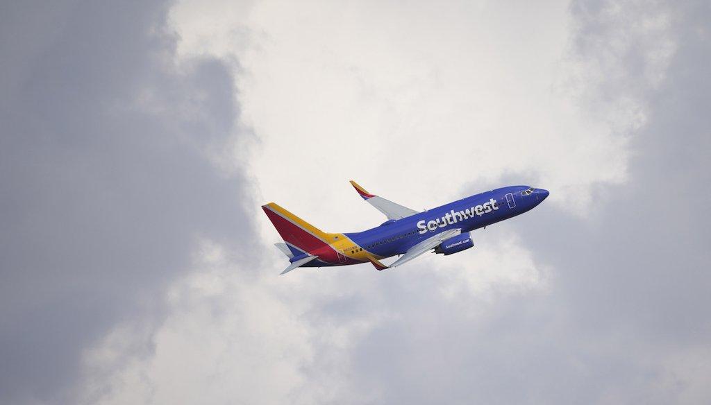 A Southwest Airlines jetliner takes off from a runway at Denver International Airport on Sept. 14, 2021, in Denver. (AP)