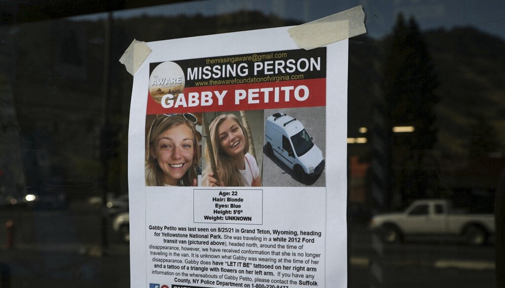 A Suffolk County Police Department missing person poster for Gabby Petito posted in Wyoming (AP Image).
