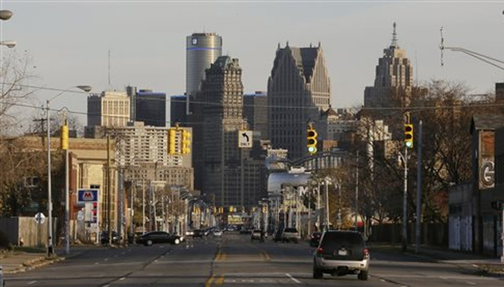 The skyline of Detroit in 2014. The city underwent a period of bankruptcy, something that states aren't allowed to do under current law. (AP)
