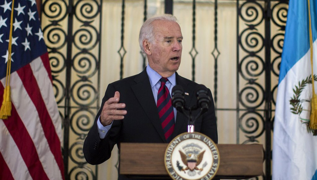 Then-Vice President Joe Biden speaks during a news conference in Guatemala City on June 20, 2014. (AP)