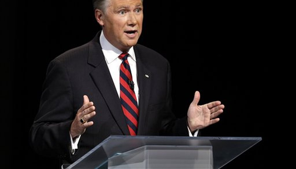 Mark Harris participates during a debate in Research Triangle Park, N.C., Monday, April 28, 2014. (AP/Pool)