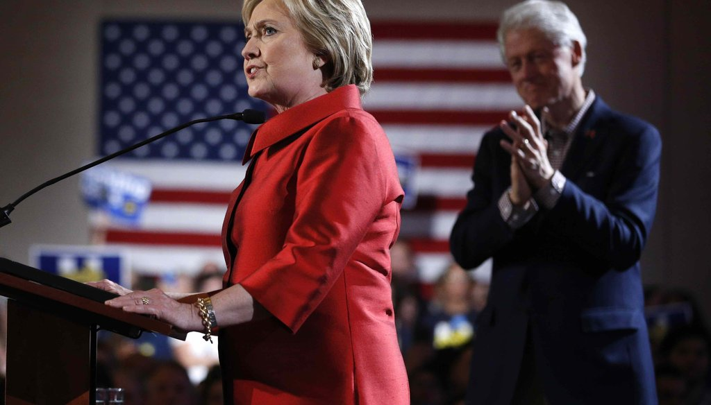 Democratic presidential candidate Hillary Clinton, left, speaks on stage with her husband and former President Bill Clinton during a Nevada Democratic caucus rally on Feb. 20, 2016, in Las Vegas. (AP)