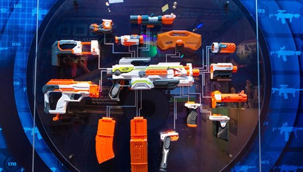 Hasbro introduces Nerf Modulus on Saturday, Feb 14, 2015 at its showroom during the North American International Toy Fair in New York (Photo by Matt Peyton/Invision for Hasbro/AP Images)
