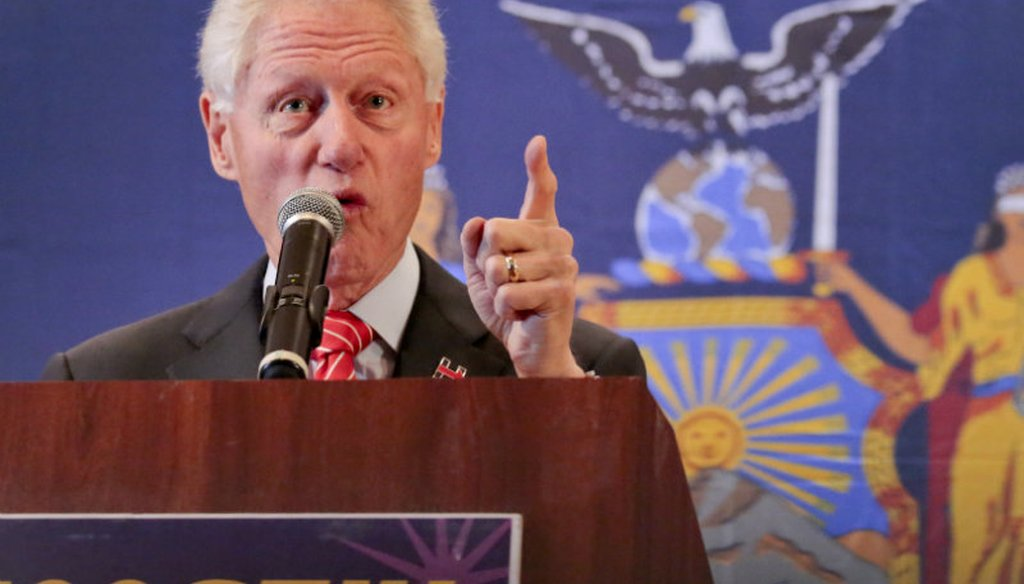 Former President Bill Clinton speaks to healthcare union members, while campaigning for his wife, Democratic presidential candidate Hillary Clinton, Thursday March 31, 2016, in New York. (AP Photo/Bebeto Matthews)
