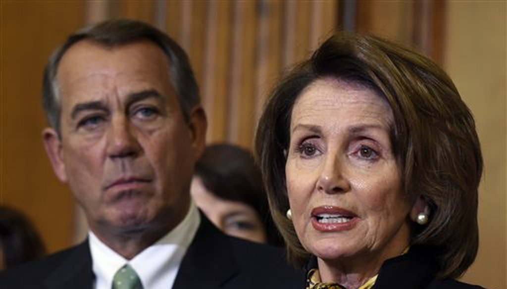 Then-House Speaker John Boehner of Ohio listens as then-Minority Leader Nancy Pelosi of California speaks before the signing of the Justice for Victims of Trafficking Act in May 2015 (AP).