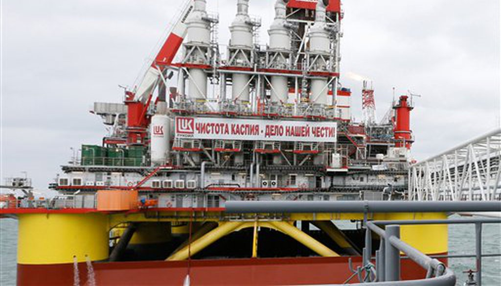 A Lukoil oil platform in the Caspian Sea, about about 800 miles south of Moscow. (AP)