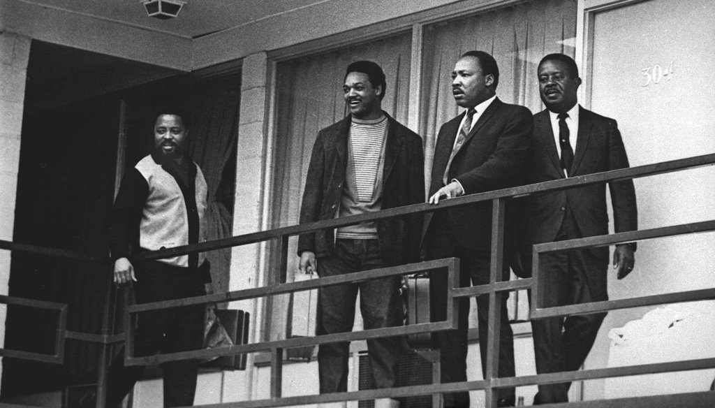Rev. Martin Luther King Jr. stands with other civil rights leaders on the balcony of the Lorraine Motel in Memphis, Tenn., on April 3, 1968, a day before he was assassinated at approximately the same place. (AP)