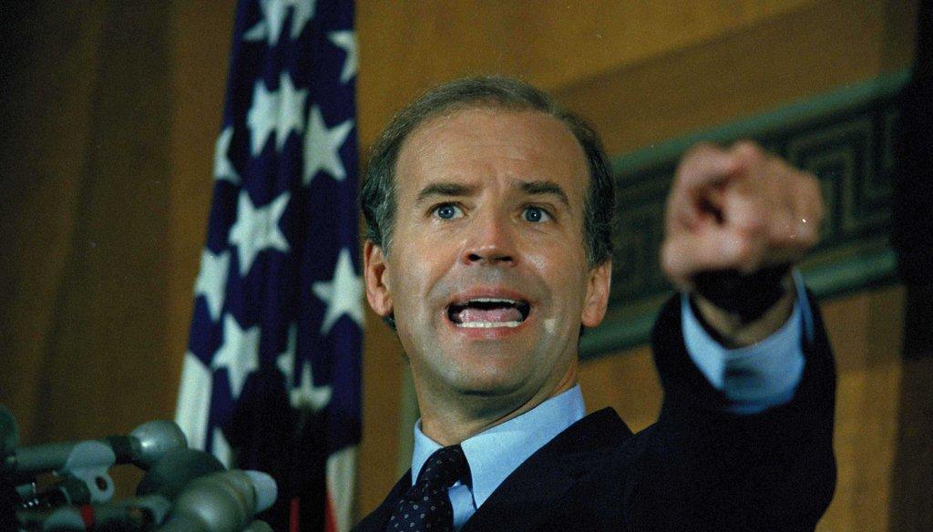 Sen. Joe Biden (D-Del.) gestures at a news conference on Capitol Hill, Sept. 17, 1987. (AP)