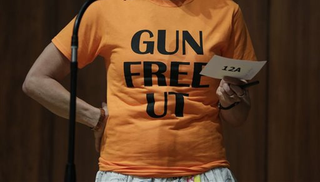 University of Texas professor Ann Cvetkovich speaks during a public forum on a law allowing students with concealed weapons permits to carry firearms on campus, on Sept. 30, 2015. (AP)
