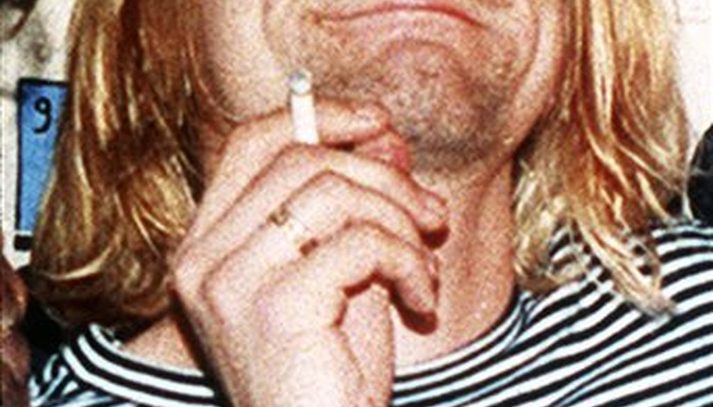 Kurt Cobain, lead singer of Nirvana, is photographed in 1993 at the 10th annual MTV Video Music Awards. (AP Photo/Mark J. Terrill)