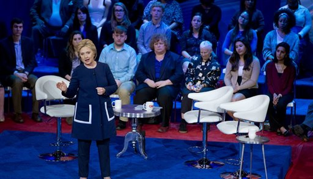 Then-presidential candidate Hillary Clinton participates in a town Hall in Columbus, Ohio on March 13, 2016. (AP/Carolyn Kaster)