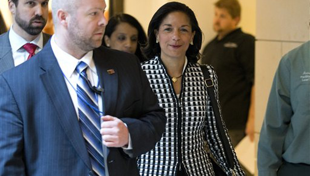 Then-United Nations Ambassador Susan Rice arrives for a meeting on Capitol Hill on Nov. 28, 2012 to discuss the Benghazi attack on Sept. 11, 2012. (AP)