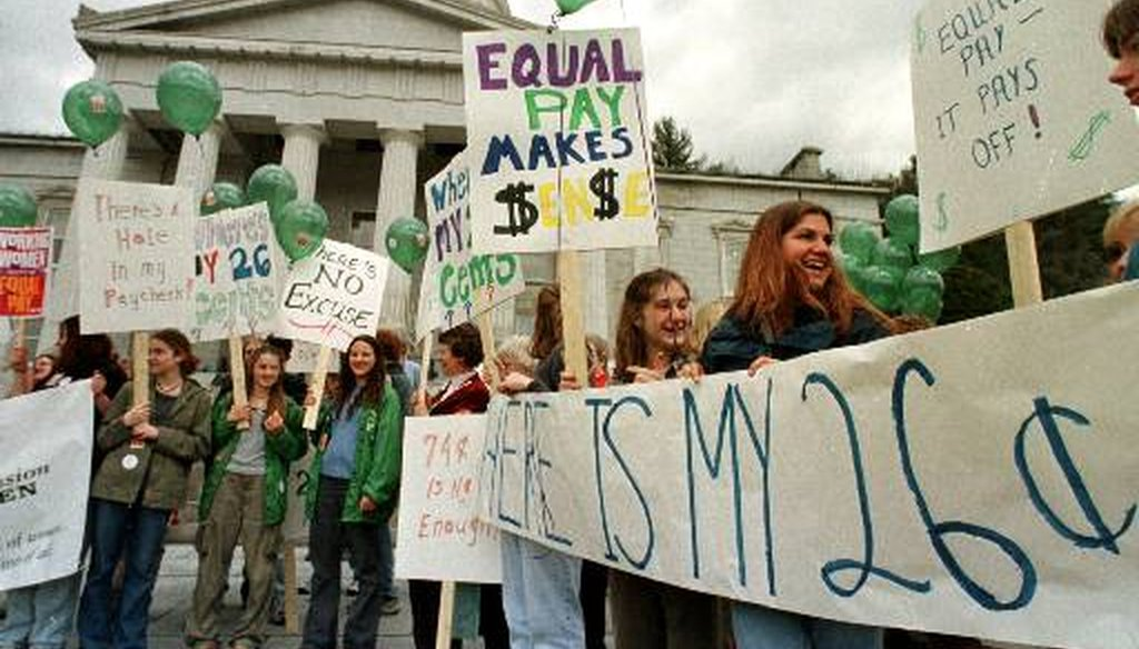 A rally on National Equal Pay Day in Montpelier, Vt. (AP)