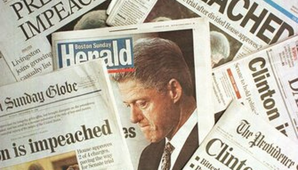 This photo montage shows the Sunday, Dec. 20, 1998, editions of newspapers from Massachusetts and Rhode Island with headlines of President Clinton's impeachment. (Associated Press)