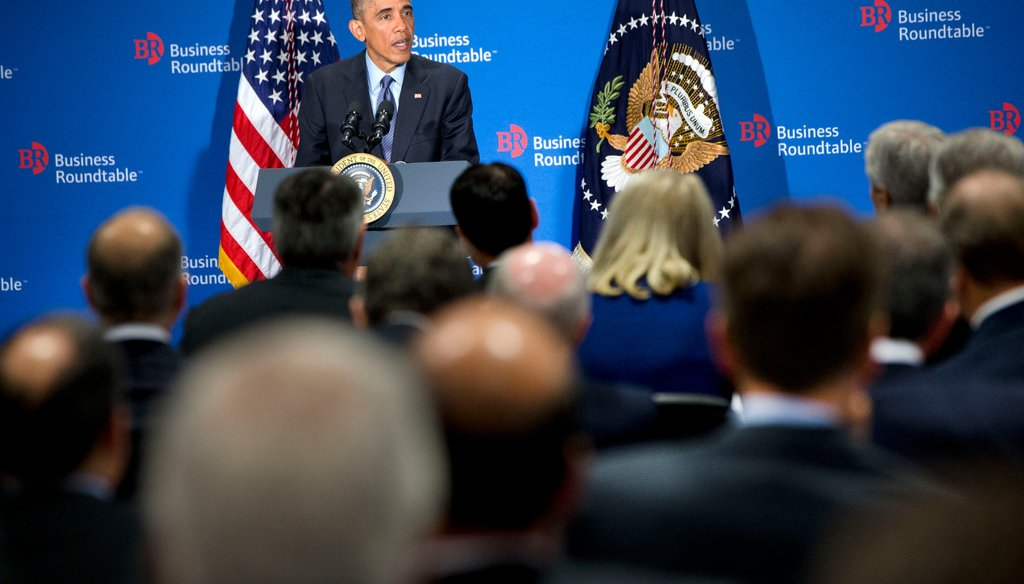 President Barack Obama speaks to leading CEOs to discuss ways to promote the economy and create jobs on Dec. 3, 2014, at the Business Roundtable's headquarters in Washington.