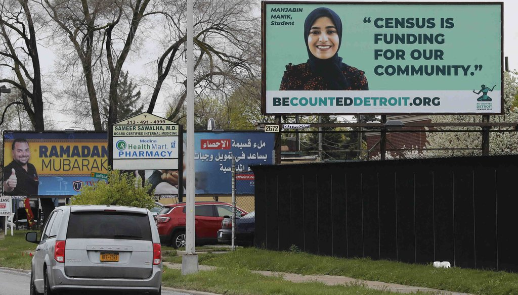 A billboard urges Detroit's Arab American community to complete the 2020 census (AP Photo/Carlos Osorio)