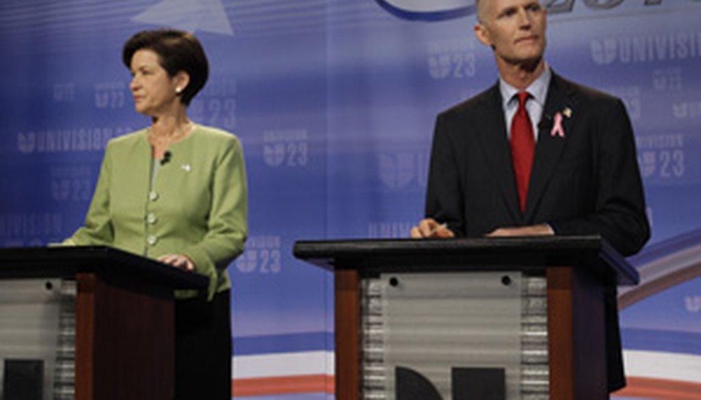 Democrat Alex Sink and Republican Rick Scott square off Oct. 8, 2010, on Univision.