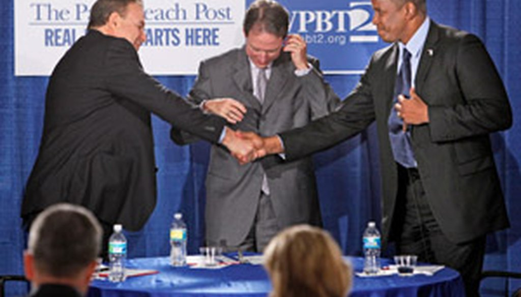 Kendrick Meek and Jeff Greene debated for the first time on June 22, 2010.