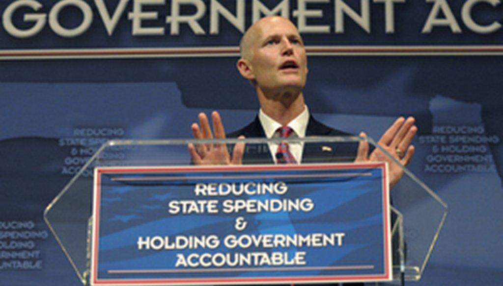 Florida Gov. Rick Scott announces his budget plan in Eustis on Feb. 7, 2011.