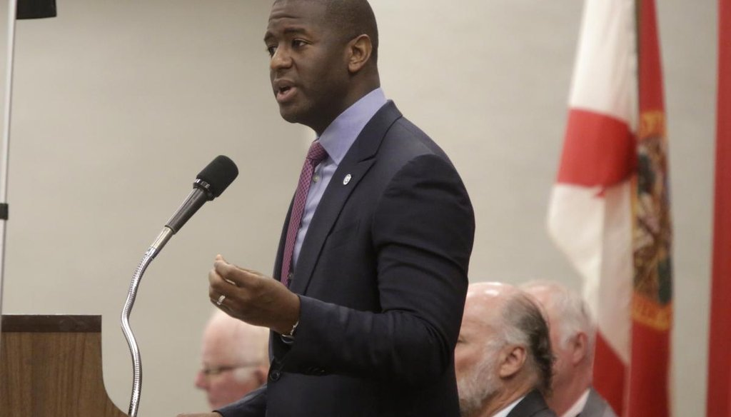 Tallahassee Mayor Andrew Gillum speaks at the meeting of the Tiger Bay Club at the Tucker Civic Center in Tallahassee, Fla., on May 31, 2017. (Tallahassee Democrat via AP)
