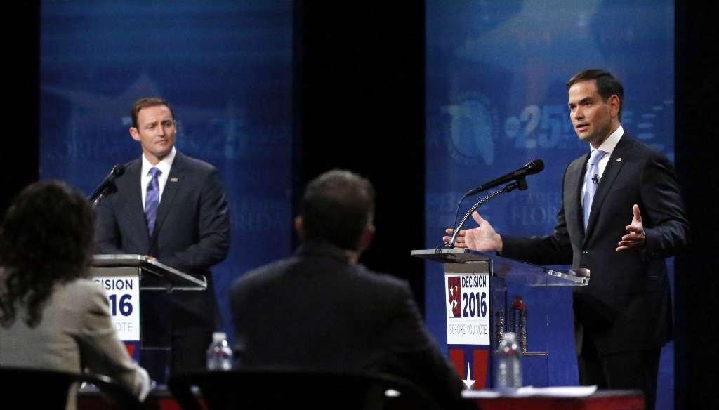 U.S. Rep. Patrick Murphy and U.S. Sen. Marco Rubio debate at Broward College in Davie on Oct. 26, 2016. (AP photo)
