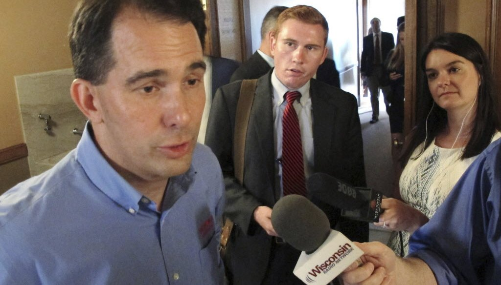Gov. Scott Walker of Wisconsin touted the state's business climate under his watch. (Associated Press photo)