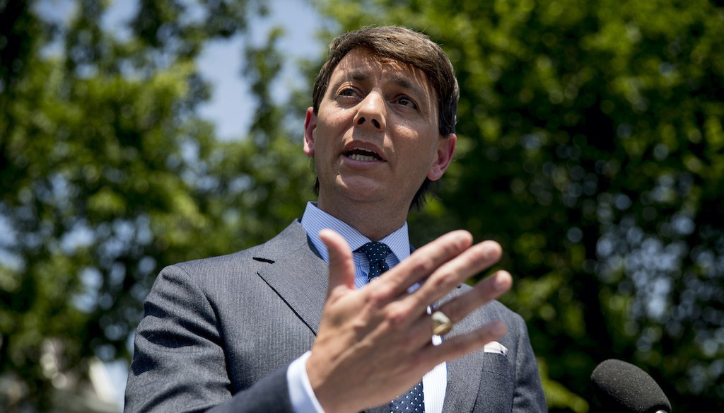 Former Trump campaign press secretary and deputy White House press secretary Hogan Gidley speaks to reporters outside the West Wing of the White House on June 4, 2020, in Washington. (AP/Harnik)