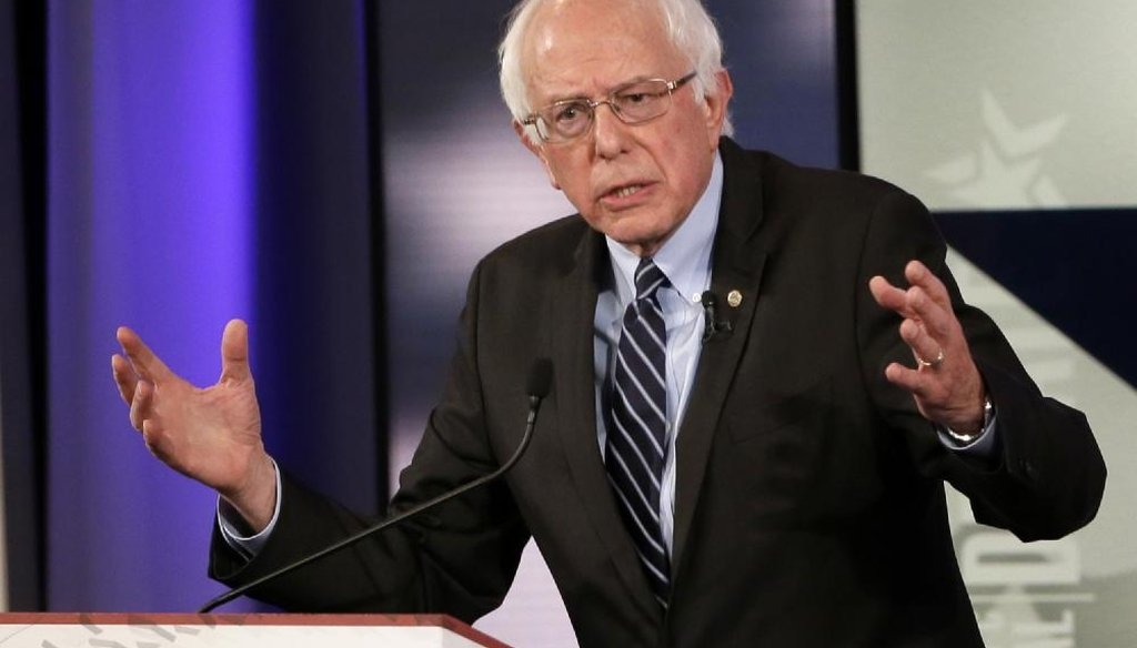 Bernie Sanders at the Iowa Democratic presidential debate. (AP)