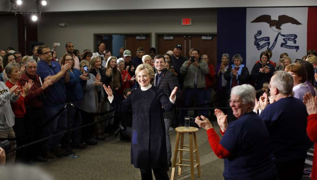 Hillary Clinton spoke in Toledo, Iowa, Monday night. PolitiFact was there to analyze some of her statements. (AP)