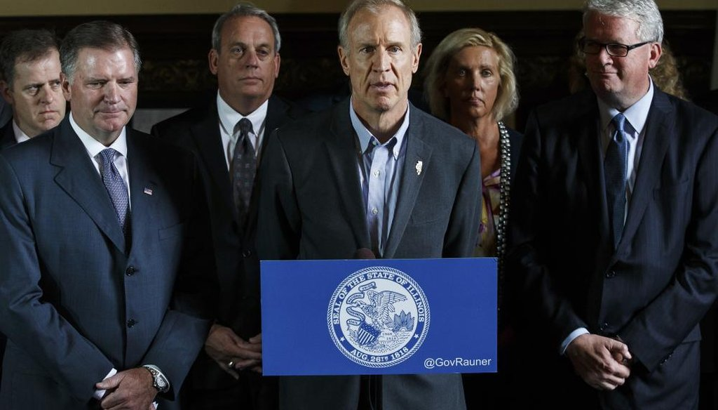 Illinois Gov. Bruce Rauner, flanked by Republican members of both chambers speaks during a news conference during the second day of a special session on education funding at the Illinois State Capitol, Thursday, July 27, 2017, in Springfield, Ill. (AP)