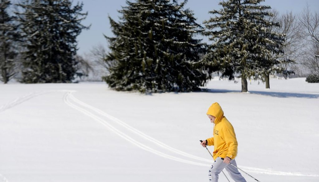 Steve Stahley cross-country skis on the McDaniel College golf course, Tuesday, in Westminster, Md. (AP)