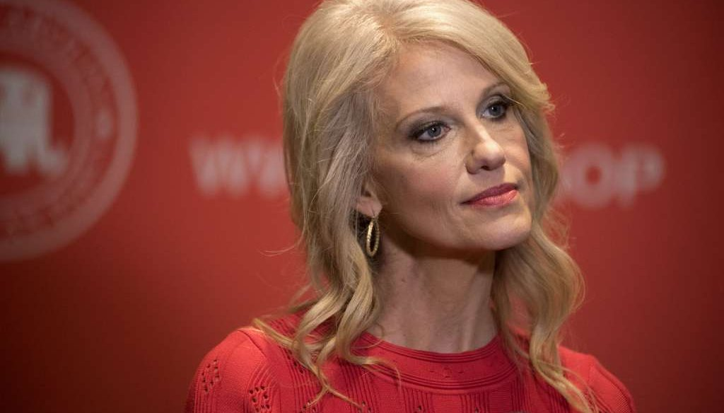 A fake news story said White House adviser Kellyanne Conway said liberal women hate her because she's too smart and beautiful. (AP photo)