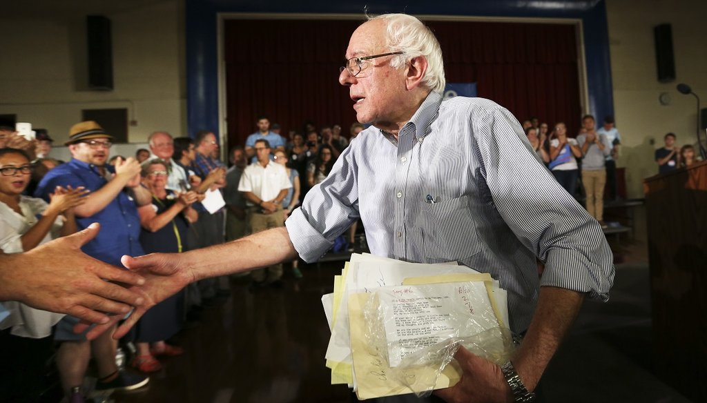 Democratic presidential candidate Sen. Bernie Sanders greets supporters after speaking at his town hall meeting in Salem, N.H., on Aug. 23, 2015. (AP Photo)