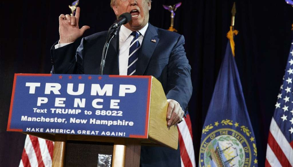 Republican presidential nominee Donald Trump speaks at a campaign rally in Manchester, N.H., on Oct. 28, 2016. (AP photo)