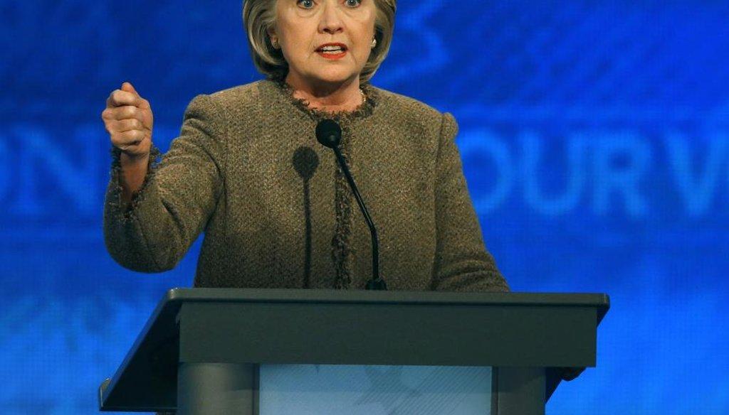 Hillary Clinton at the New Hampshire Democratic presidential debate. (AP)