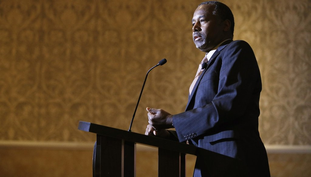 Ben Carson speaks at a news conference Nov. 16, 2015, in Henderson, Nev. Carson called for Congress to cut off funding for resettlement of Syrian immigrants in the U.S. (AP Photo)