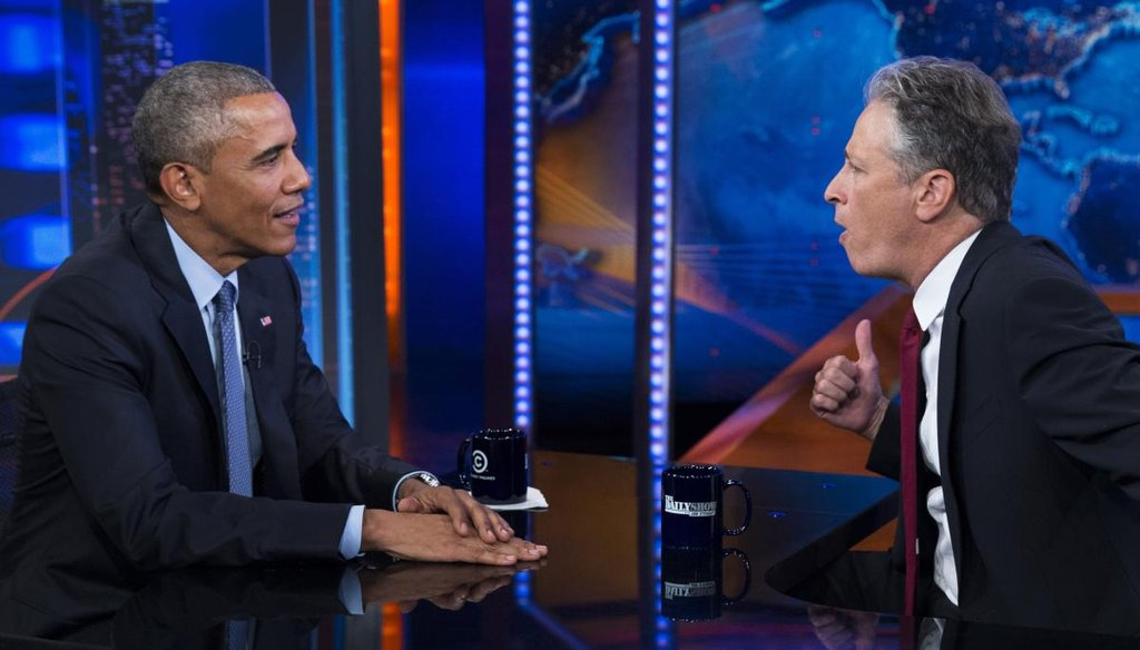 "President Barack Obama, left, talks with Jon Stewart, host of ""The Daily Show"" during a taping on Tuesday, July 21, 2015, in New York. (AP)"