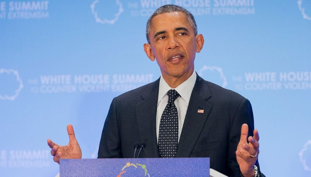 President Barack Obama speaks at the White House Summit to Counter Violent Extremism at the State Department on Thursday. (AP)