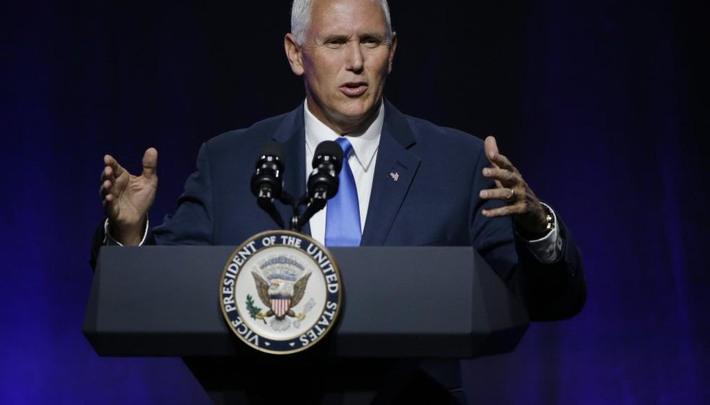 "Vice President Mike Pence addresses a National Governors Association session titled ""Collaborating to Create Tomorrow's Global Economy"" at the second day of the NGA meeting Friday, July 14, 2017, in Providence, R.I. (AP)"