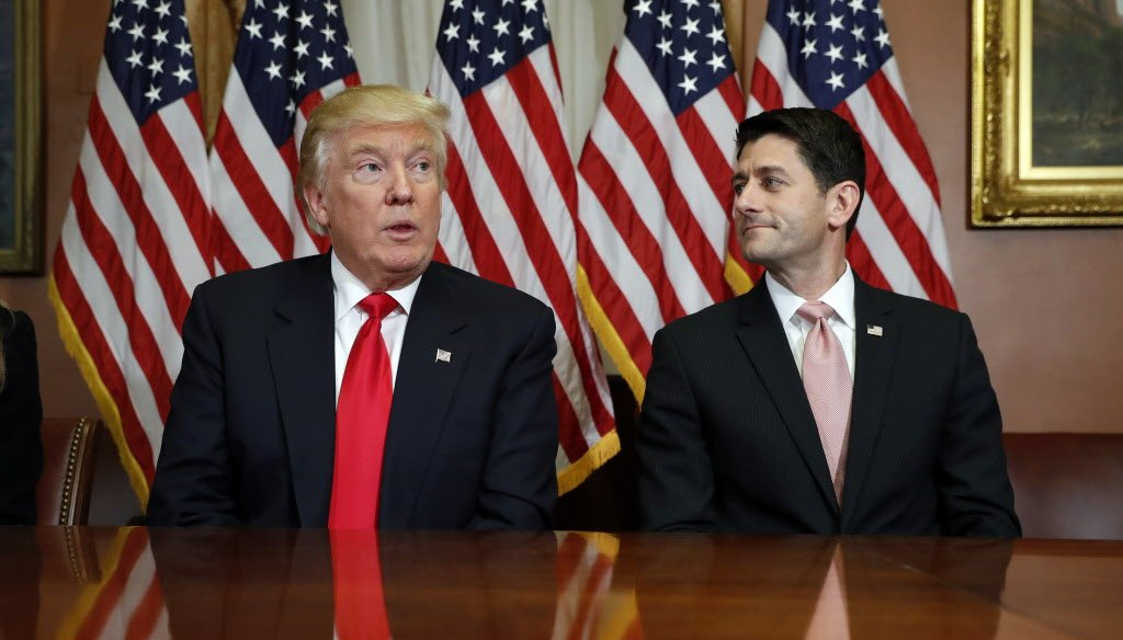 President-elect Donald Trump meets with U.S. House Speaker Paul Ryan, a Republican from Wisconsin. (Associated Press photo)