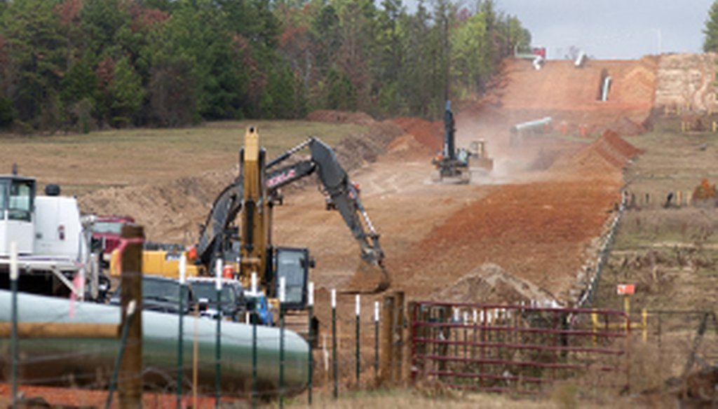 In this Dec. 3, 2012, file photo, crews work on construction of the TransCanada Keystone XL Pipeline near County Road 363 and County Road 357, east of Winona, Texas. Credit: Associated Press