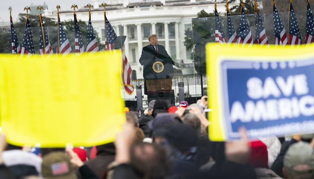 President Donald Trump speaks during a rally protesting the certification of his Electoral College defeat on Jan. 6, 2021, in Washington. (AP/Vucci)