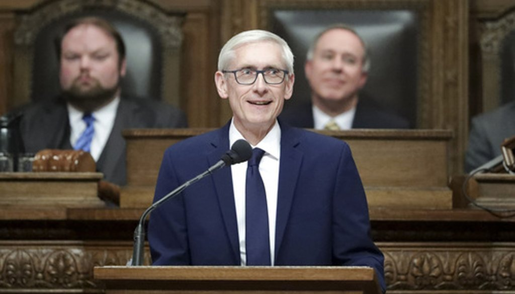 Wisconsin Gov. Tony Evers unveiled his state budget at the State Capitol Feb. 28, 2019, in Madison, Wis. Evers, a Democrat, unveiled his plan during a joint meeting of the Legislature. (Associated Press).
